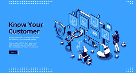 Know your customer banner. Concept of identification bank client, analysis risk and trust business, anti laundering. Vector landing page of KYC with isometric illustration of working people