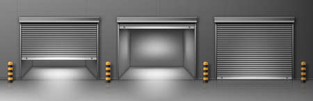 Gate with metal rolling shutter in gray wall. Vector realistic illustration of hallway in commercial garage or warehouse with closed and open roller up blinds. Building facade with automatic doors Illustration