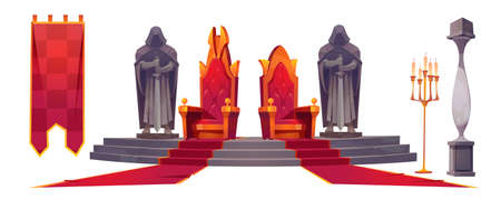 Medieval castle interior with gold royal thrones. Vector cartoon set of king and queen chairs, stone statues of knights with sword, red carpet, flag and candles isolated on white background