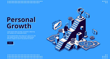 Personal growth banner. Concept of self build career, development, professional progress. Vector landing page of goal achievement with isometric man rises up on steps