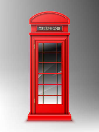 Vintage red telephone booth, classic London retro phone box. Close public English cabin for talks and communication, United Kingdom design isolated on grey background. Realistic 3d vector illustration