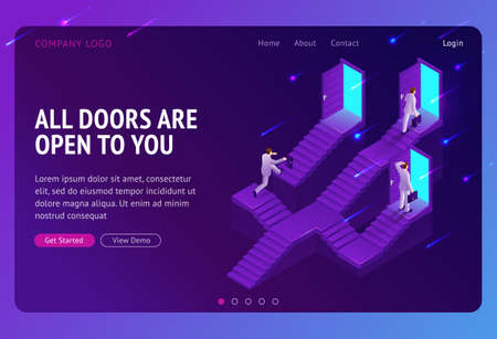 Choice, career ladder isometric landing page. Business opportunity, way to success. Businessman choose doors on stairs, decision, solution for job or life path. Monty hall problem 3d vector web banner Illusztráció