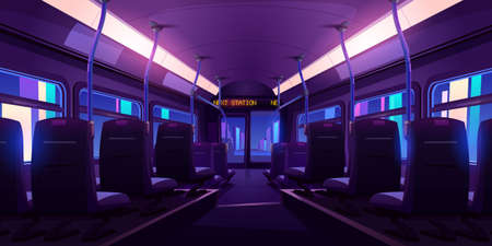 Empty bus or train interior with chairs, handrails and windows at night. Vector cartoon cabin of passenger carriage transport with comfortable seats, lamps and digital display back view