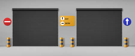 Garage doors, commercial hangar entrances with roller shutters and signs. Warehouse close boxes, Realistic 3d vector storage for car parking or rent, rooms for repair service with metal doorways