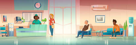 People in hospital hallway, clinic hall interior with receptionist on reception desk, patients waiting appointment in corridor couch, glass entrance door and water cooler. Cartoon vector illustration