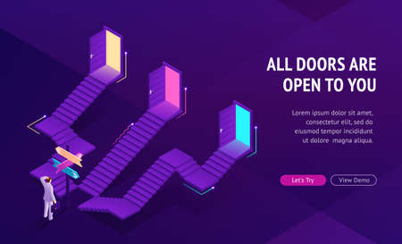 Concept of choice right way. Problem of statistical illusion in tv game. Vector landing page of making decision with isometric illustration of undecided businessman and stairs with open doors Illustration