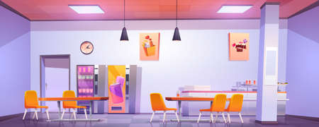 Canteen interior in school, college or office. Vector cartoon illustration of cafeteria, dining room in university, cafe with tables and chairs, counter bar and vending machines with food and drink 向量圖像