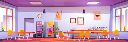 Canteen interior in school, college or office. Vector cartoon illustration of cafeteria, dining room in university, cafe with tables and chairs, counter bar, vending machines, menu on wall and windows 向量圖像