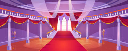 Hall interior with staircase in medieval royal castle. Vector cartoon illustration of empty hallway in baroque palace with stairs, balustrade, columns, tall windows, red curtains and carpet Ilustración de vector