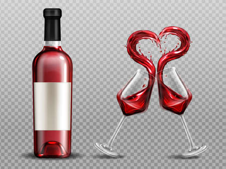 Red wine heart splash in wineglasses and close bottle. Full glasses with alcohol drink clinking isolated on transparent background. Valentine day or romantic dating realistic 3d vector illustration Vecteurs