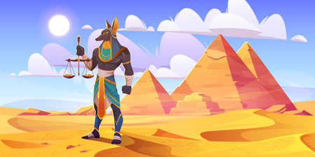Anubis Egyptian god, ancient Egypt deity with human body and jackal head wearing royal pharaoh royal clothes holding scales with golden coins stand in desert with pyramids, Cartoon vector illustration Stock Illustratie
