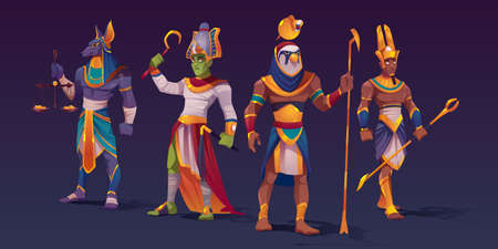 Egyptian gods Anubis, Ra, Amon and Osiris. Ancient Egypt deities characters in pharaoh clothes holding divine attributes of power as scales with golden coins and staffs, Cartoon vector illustration