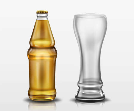 Clear bottle with beer and empty tall glass. Vector realistic mockup of blank lager or craft beer bottle with yellow cap and mug. Template of alcohol beverage design 스톡 콘텐츠 - 152308462