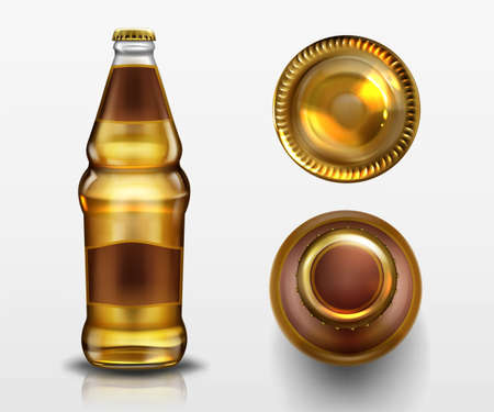 Beer bottle top and bottom view, alcohol drink in blank glass flask with closed metal cork and liquid isolated on white background, design elements for advertising. Realistic 3d vector mockup, icons 일러스트