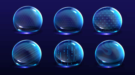 Force shield bubbles, energy glowing spheres or defense dome fields. Science fiction various deflector elements, firewall absolute protection isolated on blue background, Realistic 3d vector set