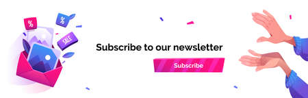 Subscribe to our newsletter cartoon banner, email news subscription, blog update messages submit with applauding human hands, confetti and envelope with pictures and sale icons. Vector illustration