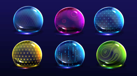 Force shield bubbles, color energy glowing spheres or defense dome fields. Science fiction various deflector elements, firewall absolute protection isolated on blue background, Realistic 3d vector set 일러스트