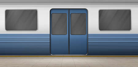 Subway door, metro train on empty station platform with tiled floor, underground carriage exterior with closed doorway and windows. Metropolitan railroad, railway. Realistic 3d vector illustration 일러스트