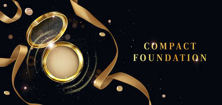 Compact foundation, powder cosmetics open golden jar top view ad poster. Makeup cosmetic package, beauty product for face care on black background with ribbon and sparkles Realistic 3d vector banner