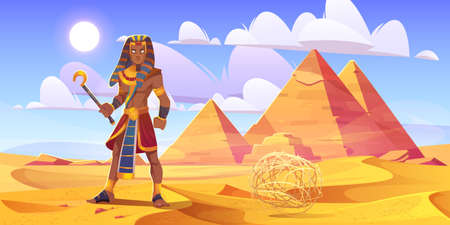 Ancient Egyptian pharaoh with rod in desert with pyramids. Vector cartoon illustration of landscape with yellow sand dunes, pharaoh tombs, figure of king of Egypt and tumbleweed 스톡 콘텐츠 - 152361439