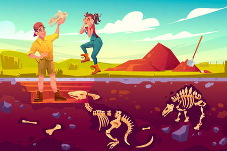 Archaeologists, paleontologist rejoice for exploring artifact dinosaurs skull, scientists working on excavations digging soil layers studying dino fossil skeletons bones, cartoon vector illustration