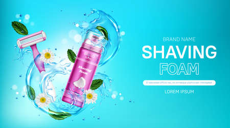 Shaving foam and safety razor blade with water splash, mint leaves and chamomile flowers. Women cosmetics promo with pink bottle and shaver. Body care cosmetic product, realistic 3d vector banner