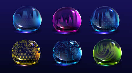 Broken bubble shields, damaged protection force fields. Vector realistic set of cracked safety energy barrier, shiny spheres with fracture. Broken defence concept