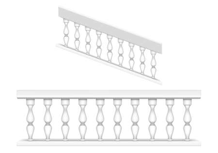 White marble balustrade for balcony, porch or garden and handrail for staircase in classic roman style. Vector realistic set of baroque stone railing, banister with pillars, antique fence with columns 일러스트