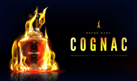 Cognac bottle in fire advertising banner. Closed burning glass blank flask with strong alcohol drink on black background with flame, beverage ad. Realistic 3d vector illustration, promo poster mock up