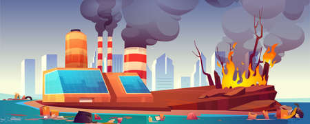 Environment disaster, air and ocean pollution, deforestation. Vector cartoon illustration with black smoke from factory, dirty sea shore polluted by waste and forest fire. Eco problems concept
