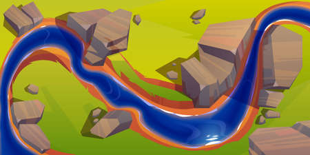 River top view, cartoon curve riverbed with dark blue water, reflection, rocks on coastline and green grass. Summer landscape, beautiful valley, scenic picturesque natural stream, vector illustration Stock Illustratie