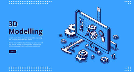 3d modelling isometric landing page. Cad engineer model project on computer desktop screen with construction supplies around. Software program for pc, technical blueprint, vector line art web banner