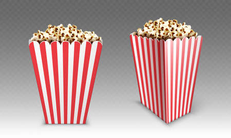 Striped paper box with popcorn isolated on white background. Vector realistic mock up of white and red bucket with pop corn for cinema or movie theater front and angle view Stock Illustratie