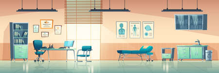 Medical office interior, empty clinic room with doctor stuff, hospital with couch, chair and washbasin, locker for medicine, table, computer and medical aid banners on wall cartoon vector illustration