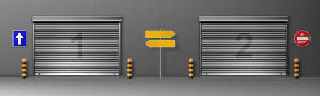 Gate with metal rolling shutter in logistic center building. Vector realistic illustration of cargo doors in warehouse or distribution hub with roller up blinds. Commercial garage with automatic doors