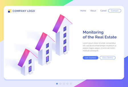 Monitoring of real estate banner. Concept of rising price of buildings and apartments, property investment. Vector landing page of real estate management with isometric houses illustration
