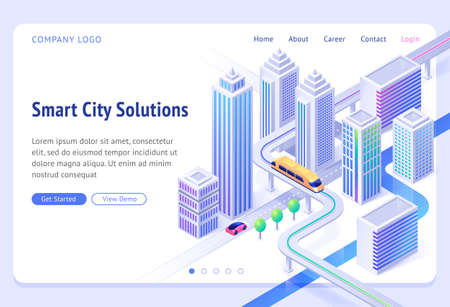 Smart city solutions banner. Sustainable development, urban infrastructure innovation. Vector landing page with isometric illustration of modern town with skyscrapers, monorail train and car road