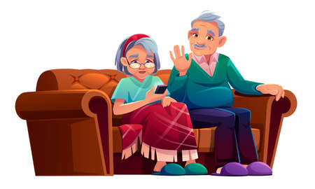 Senior man and woman talking by mobile phone sit on couch in nursing home. Old lady wrapped in plaid and aged grey haired pensioner relax on sofa use smartphone for chat, Cartoon vector illustration
