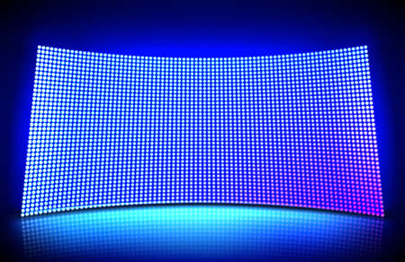 Concave led wall video screen with glowing blue and purple dot lights. Vector illustration of grid pattern for led display on stadium or scene. Curved digital panel with mesh of diode lamps