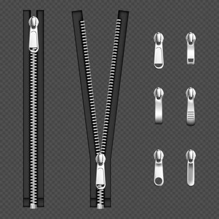 Metal zip fasteners, silver zippers with differently shaped puller and open or closed black fabric tape, clothing hardware isolated on transparent background, Realistic 3d vector illustration, set