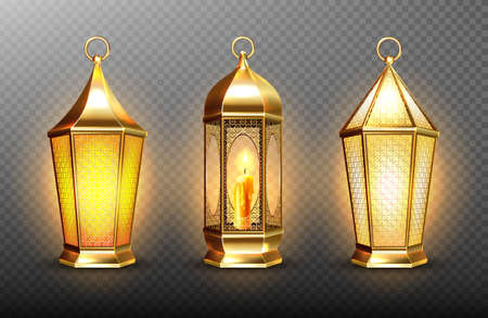 Vintage gold arabic lanterns with glowing candles. Vector realistic set of hanging luminous lamps with golden arabian ornament. Islamic shining fanous isolated on transparent background