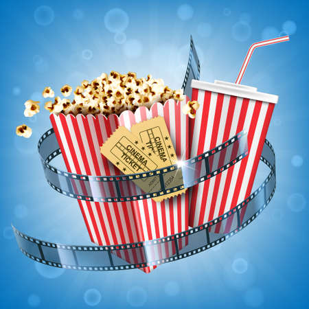 Cinema popcorn, soda drink, tickets and film strip movie poster with fast food snack and cola beverage in disposable striped package on abstract blurred background. Realistic 3d vector illustration