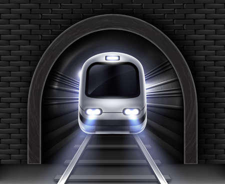 Modern subway train in tunnel. Vector realistic illustration of front wagon of passenger speed train, stone arch in brick wall and rails. Underground electric railway transport