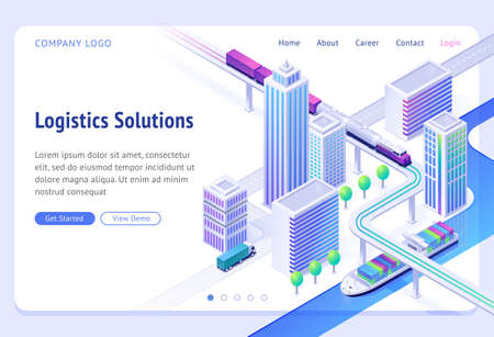 Logistics solutions isometric landing page. Transport delivery company service, cargo import and export by ship, truck or train. Land and river goods city transportation business, 3d vector web banner  イラスト・ベクター素材