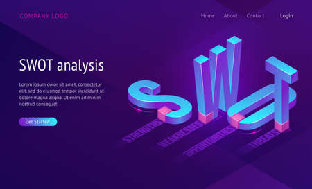 Swot isometric landing page with abbreviation of words Analysis, Strengths, Weaknesses, Opportunities, Threats. Business Concept, 3d Letters Standing and Lying on Purple Background, Vector web banner