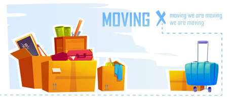 House moving banner with illustration of cardboard boxes and suitcase. Vector cartoon background with carton package for home things, tools, bags and stuff. Concept of relocation, apartment change Stock Illustratie