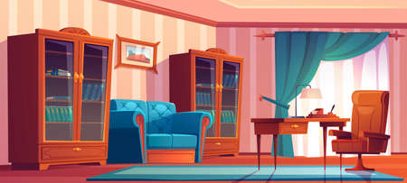 Vintage home office interior with wooden furniture, table, chair, sofa and bookcases. Vector cartoon illustration of empty chief cabinet with blue curtains, couch, desk and painting on wall Stock Illustratie