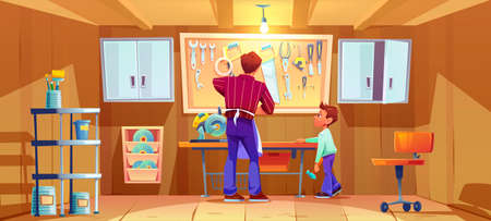 Carpenter and his son do craft or repair on workbench in garage. Vector cartoon illustration of workshop interior with carpentry tools and instruments. Boy with hammer helps father Stock Illustratie