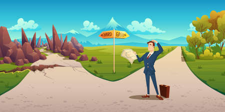 Confused man with map makes choice between hard and easy way. Vector cartoon landscape with businessman on road with direction sign, curvy path with rocks and simple straight road Vektorgrafik