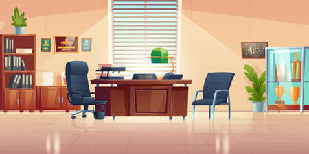 Principals office in school with desk, chairs, bookcase and showcase with sport trophies. Vector cartoon empty interior of headmaster cabinet for meeting and talking with teachers, pupils and parents Illustration